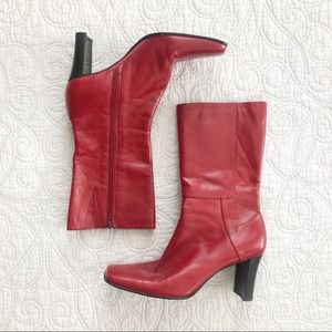 Bandolino Airlias Red Leather Square Toe Boots